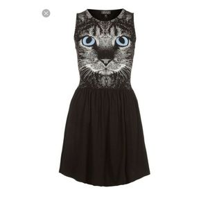 TOPSHOP CAT Print Black Sleeveless Skater Dress